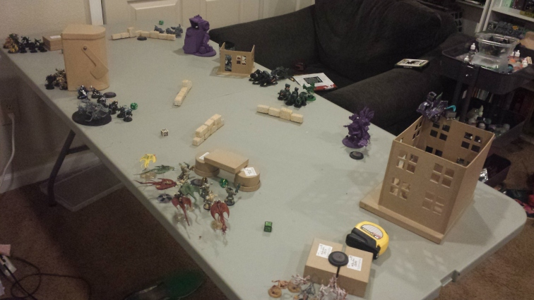 Our table's about a foot narrower than regulation, but for assaulty armies that means things get engaging faster.